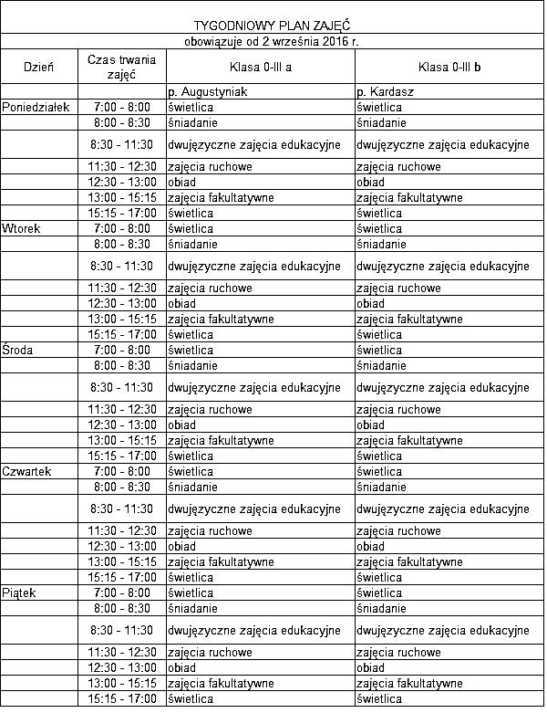 Plan lekcji 2016 Harmonia