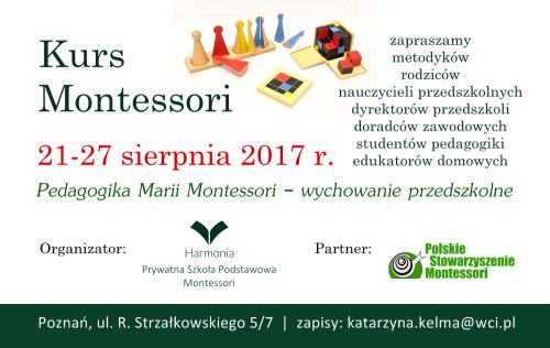 Kurs Montessori wychowanie przedszkolne 2017